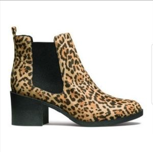 H&M DIVIDED leopard print ankle booties.